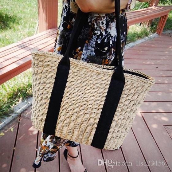49ca99ecd556 Women Handbag Summer Beach Bag Handmade Rattan Woven Knitted Rivets ...