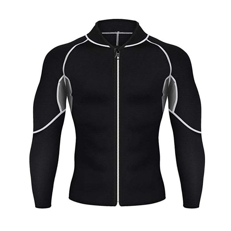 Fitness T-shirt Men Long Sleeve Elastic Sweating Slimming Sauna Suit Sportswear Body Shaper Tees Gym Tops Workout Shirts Jacket