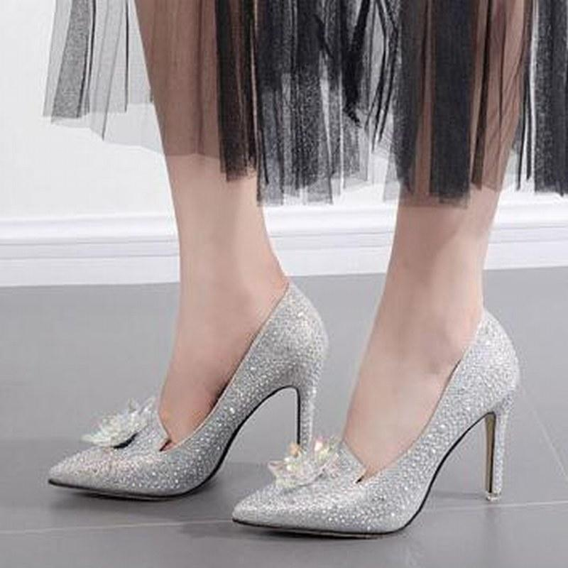 7a9e4b3541810 Sparkling Crystal New Style Women High Heels Bridal shoes Wedding Shoes  Silver Dress Shoes