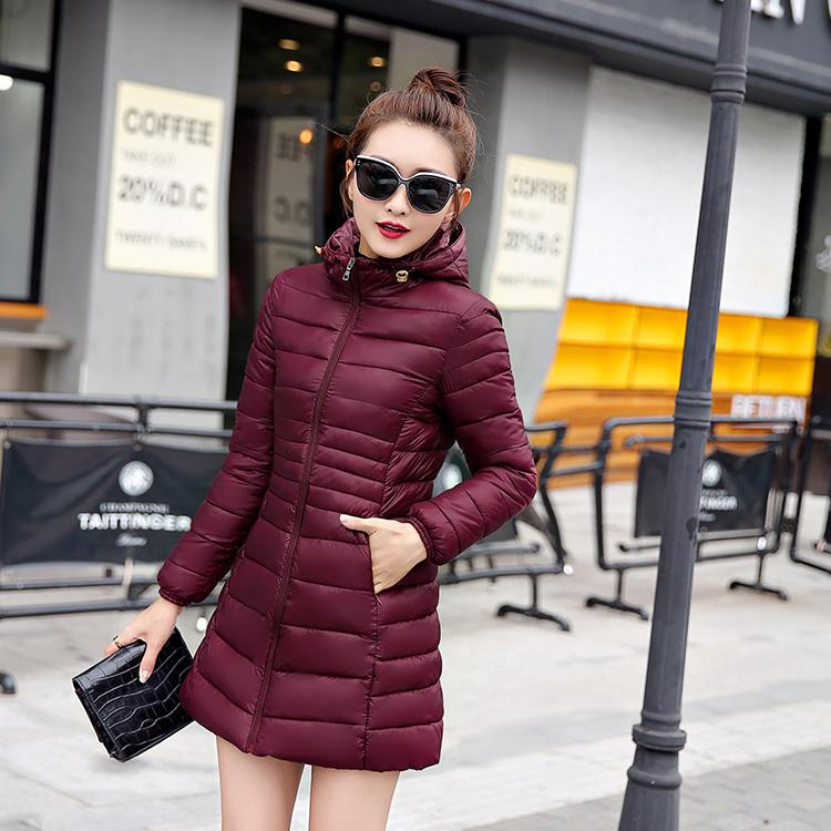2019 neue Marken-Down-Parka Winter-Daunenjacke Frauen Lange Jacke Outwear Ultra Kapuze Thin Hut-Mantel