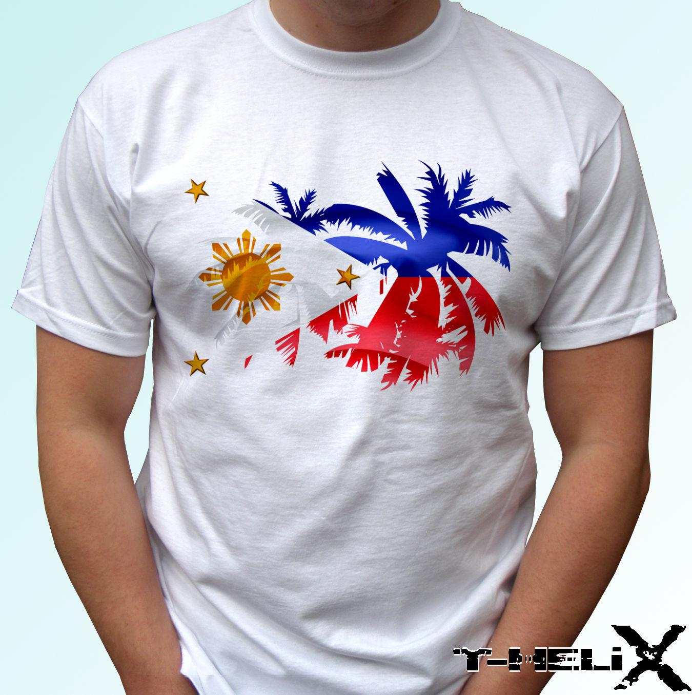 05dfe80928801 Philippines palm flag - white t shirt top design - mens womens kids & baby  sizes 100% Cotton Short Sleeve, O-Neck T Shirt,Top Tee Basic,