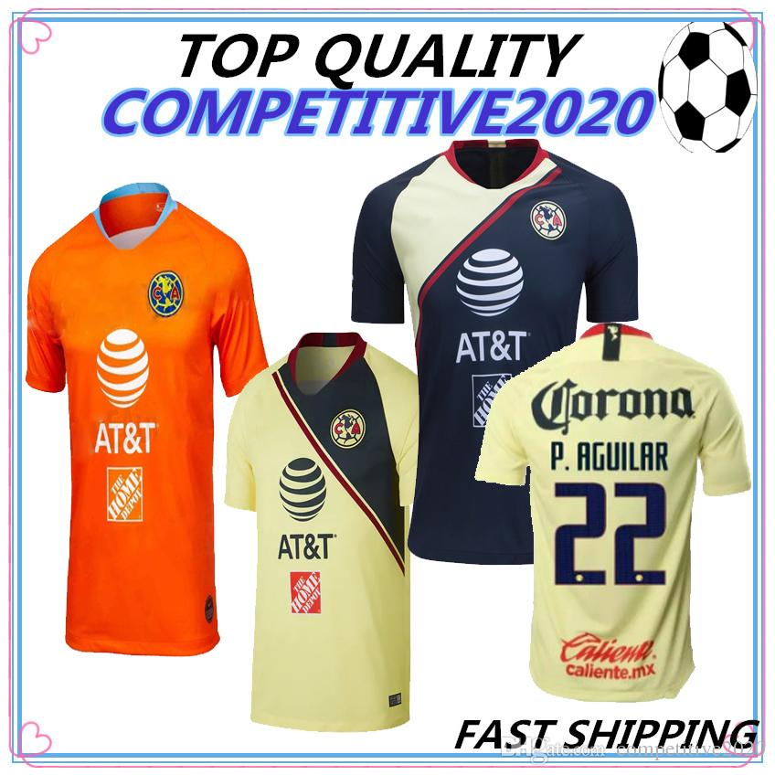 9f58bd80cfa 2019 18 19 Best Quality LIGA MX Club America Soccer Jerseys Home Yellow Away  Third Green 2018 2019 Camisetas O.Peralta Football Shirts From  Competitive2020, ...