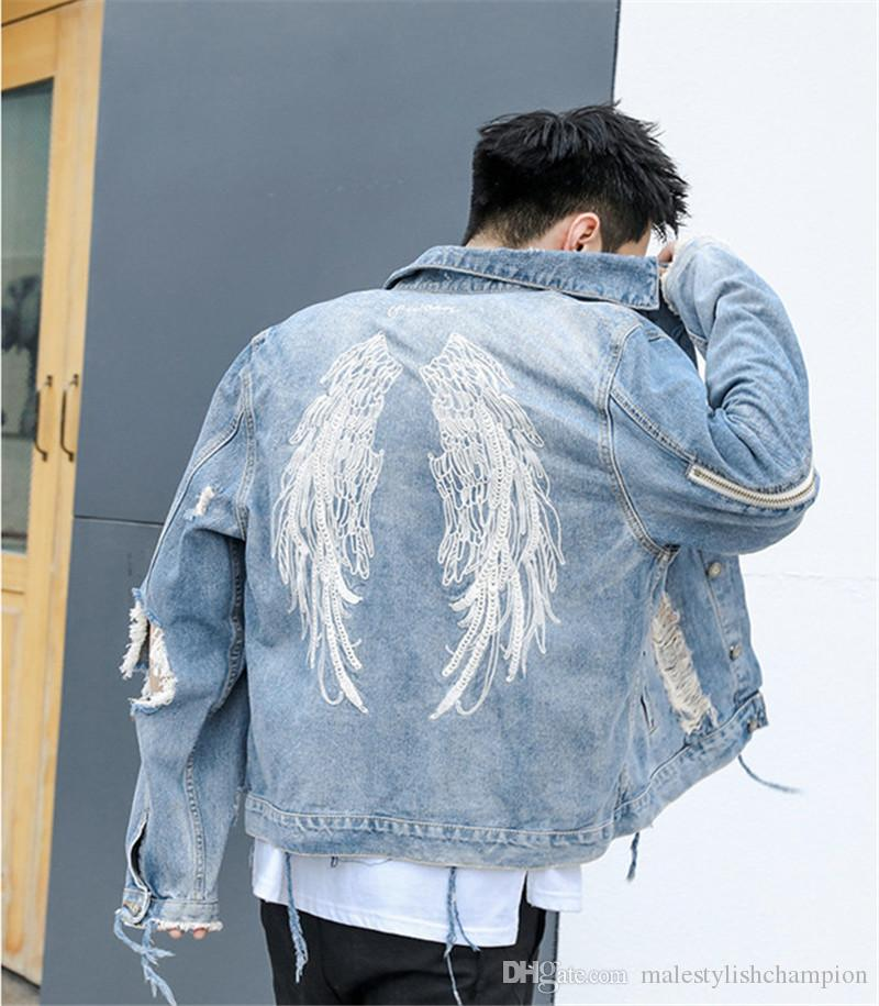 Feather Designer Herren Jacken Löcher Longs Slim Herrenoberbekleidung Stickerei Revers Neck Fashion Herren Kurze Mäntel Mit Reißverschluss