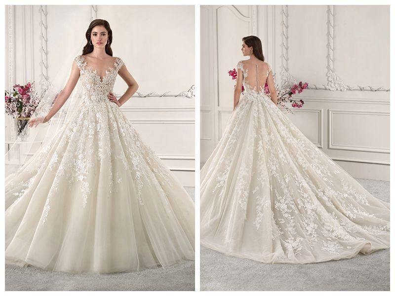 30c308c632 Discount 2019 Wedding Dresses Robe De Mariée Demetrios 873 Ivory Lace A  Line Sheer Bateau Capped Buttons Applique Wholesale Custom Made Wedding  Lace Dresses ...