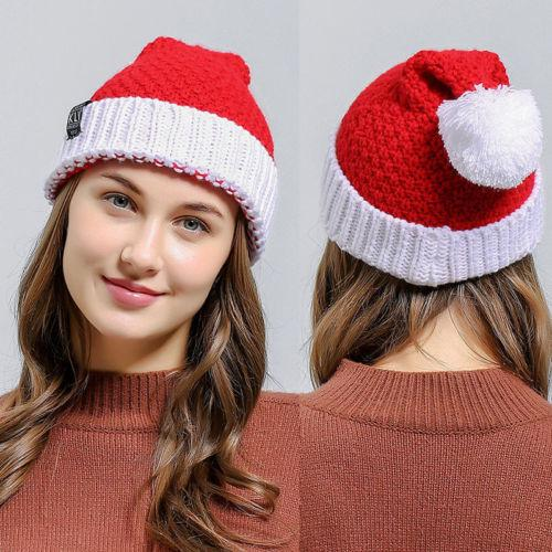 0e49b5d9af2 Adults Women Santa Claus Patry Christmas Xmas Wool Knitted Cap Soft ...