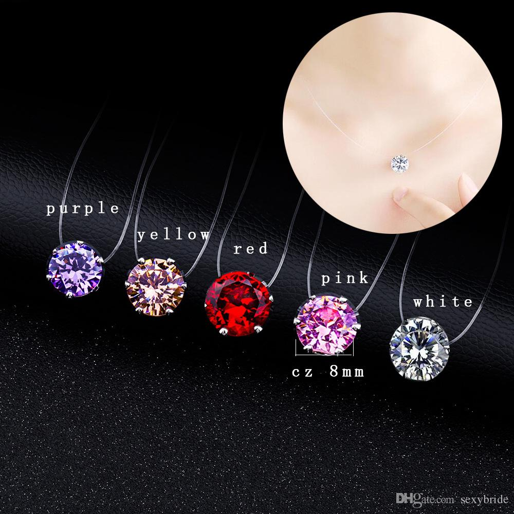 Cheap New Bridal Shiny 8mm Crystal Pendants Necklace For Woman Invisible Fishline Rhinestone Necklace Girls Gifts Wedding Jewelry FC29I