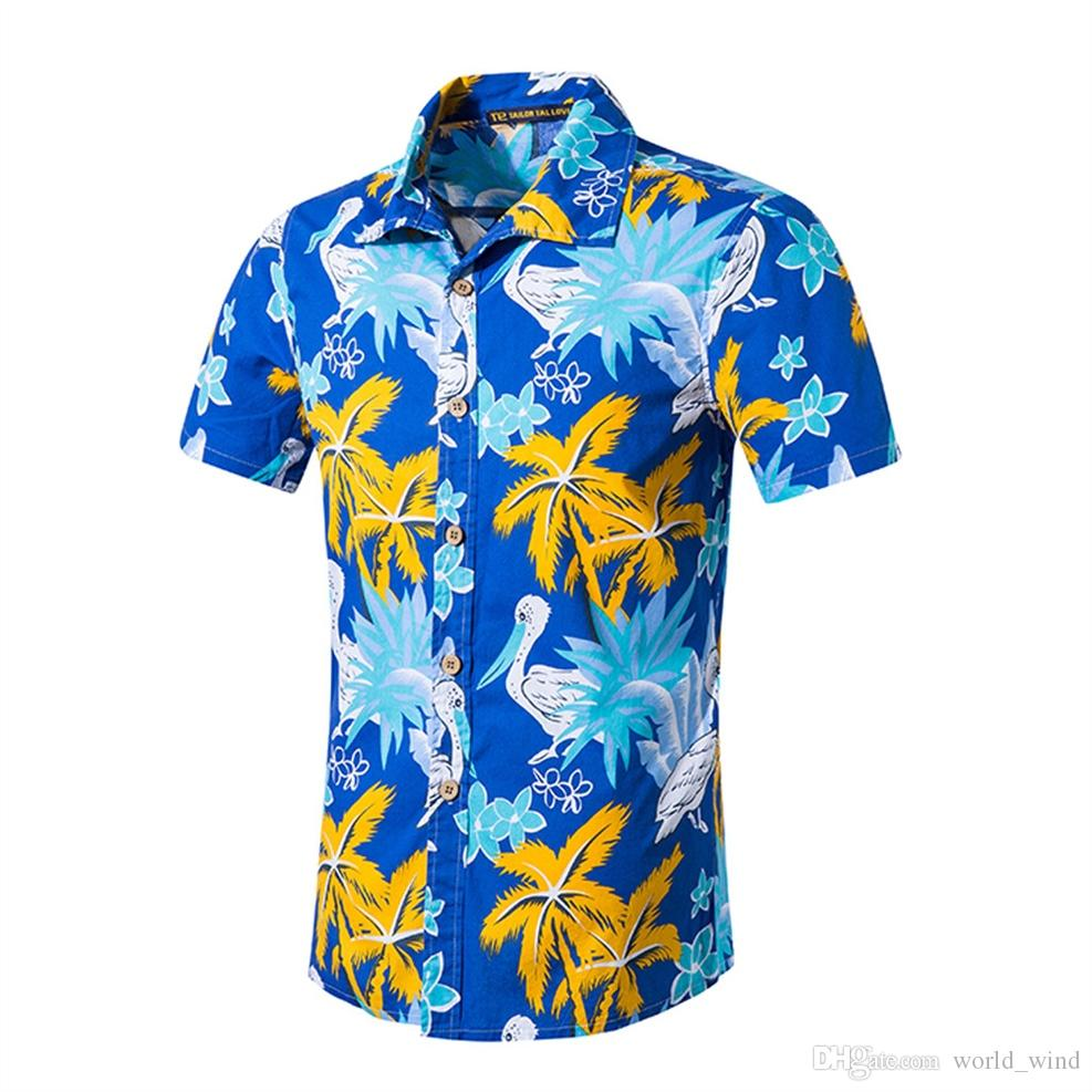 1d29ed2e 2019 FeiTong Men Shirt 2019 New Summer Mens Short Sleeve Beach Hawaiian  Shirts Cotton Casual Tops Mens Clothing Floral Shirt Of Male #388472 From  World_wind ...