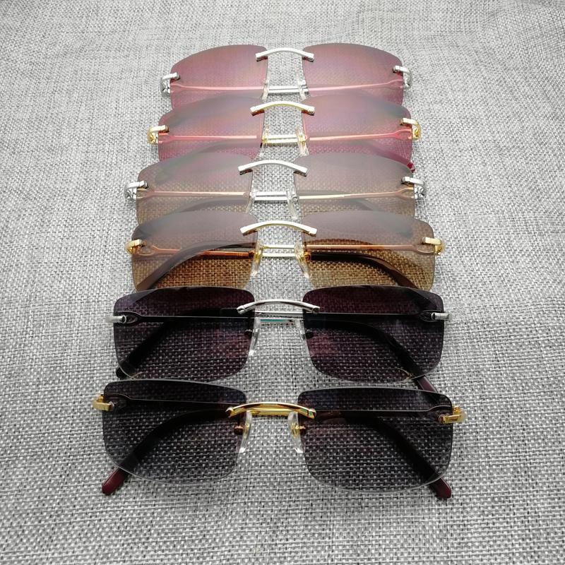 8fb5765d08ac3 Compre Luxo Sem Aro Óculos De Sol Dos Homens Quadro De Metal Quadrado Óculos  De Armação Para Óculos Ao Ar Livre Óculos De Gafas Oculos Para Beaching ...