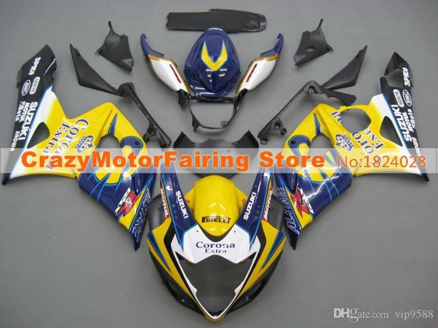 3 regali + Coprisedile Kit carenature per SUZUKI GSXR1000 K5 05-06 GSXR 1000 GSX R1000 GSX-R1000 K5 05 06 2005 2006 Carenatura corona blu gialla