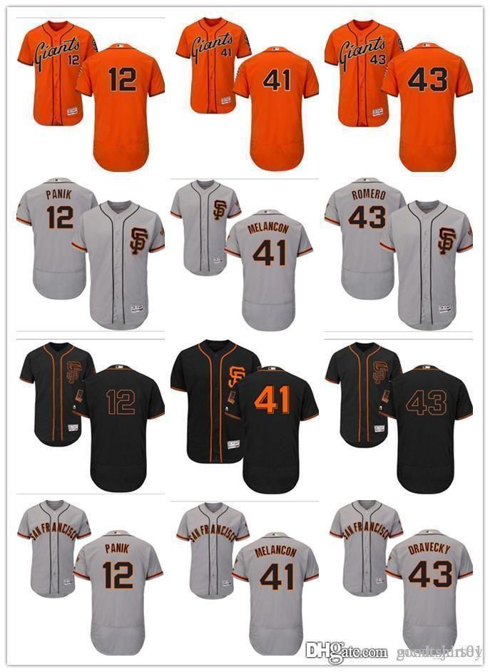 best authentic 29b39 f84eb custom Men women youth SF Giants Jersey #12 Joe Panik 41 Mark Melancon 43  Dave Dravecky Home Orange Grey White Kids Baseball Jerseys