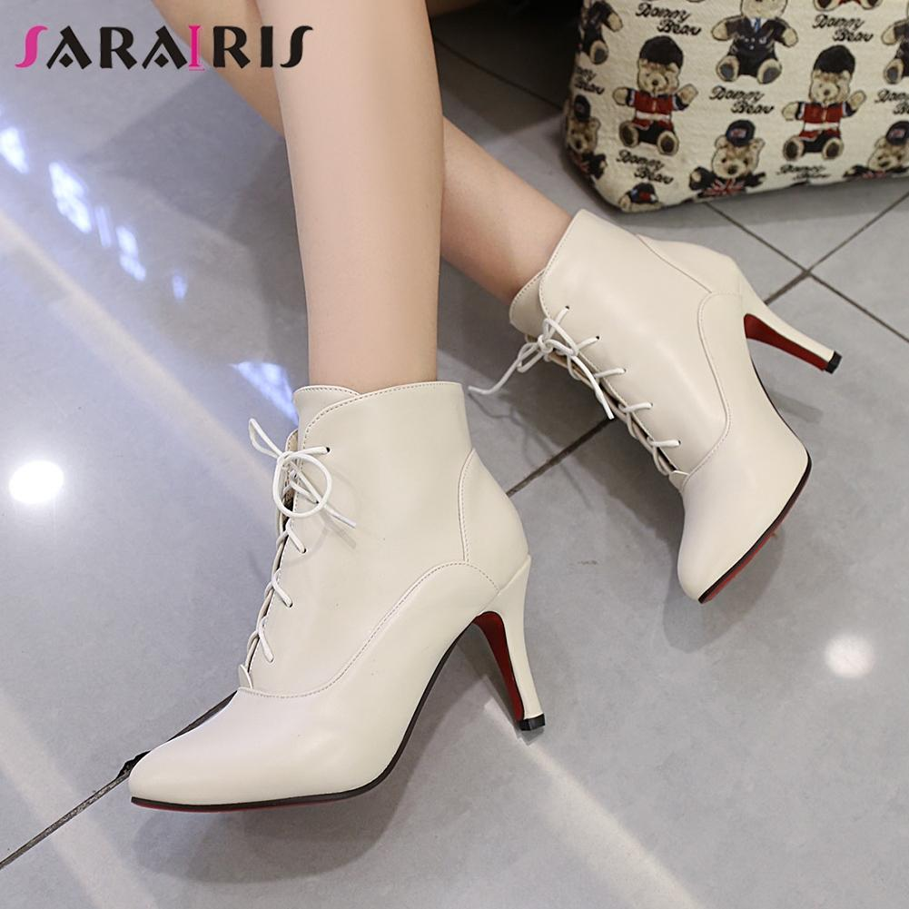 9ef76cf9a Compre SARAIRIS Mulheres Populares Ankle Boots Plus Size 32 48 8.5 Cm Super  High Heels Lace Up Botas Sapatos Femininos Mulher 3 Cores De Penbake, ...