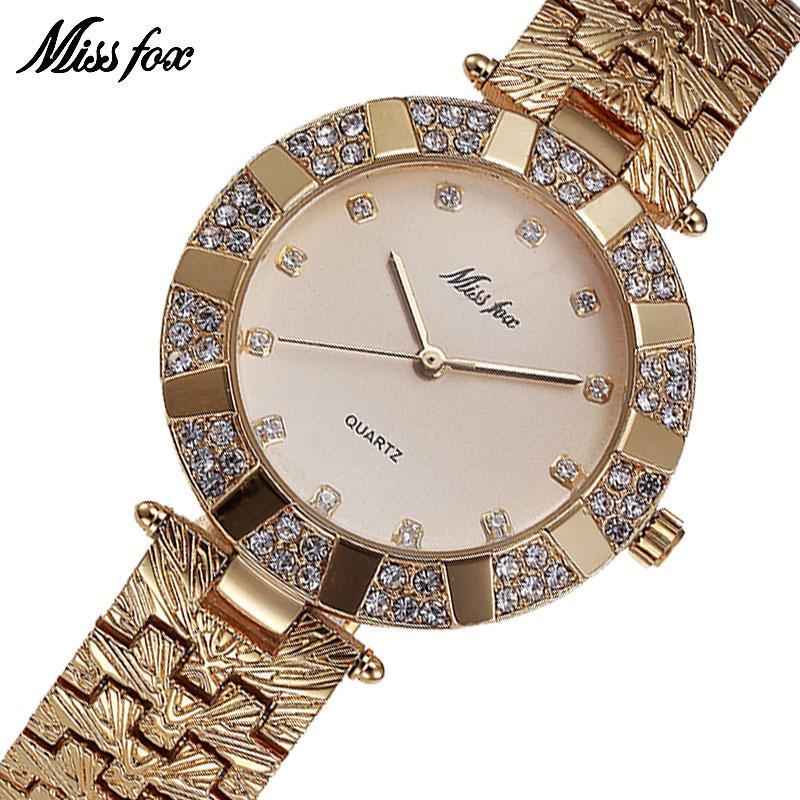 Compre MISSFOX Miss Fox Marca De Lujo De Cuarzo Relojes De Pulsera A Prueba  De Agua Para Mujeres Reloj De Moda Reloj De Pulsera De Oro C19010301 A   28.75 ... ad9f83016e14