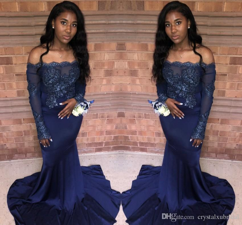 2019 New Arrival Dark Navy Mermaid Prom Dresses Off Shoulder Lace Appliques  Sequnins Illusion Long Sleeves Cheap Evening Party Gowns Wear Purple Prom  ... 5f25fed298a9