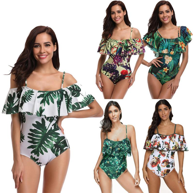 Sexy Ruffle Beach Swim Wear One Piece Women Bathing Suit Swimwear Swimsuit Swimming Suit for Women Bikini Plus Size XXXL 2019