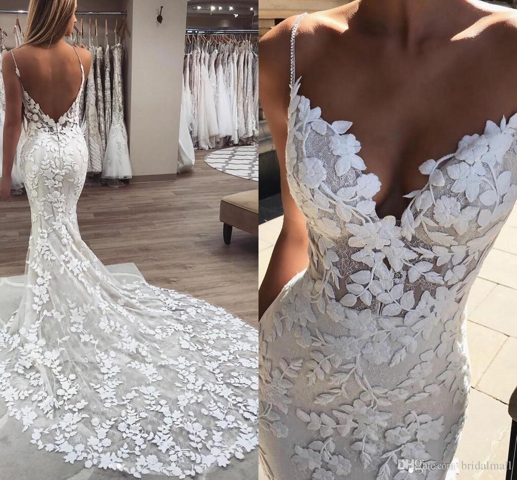 Beaded Pearls Spaghetti Strap Lace Wedding Dresses 2019 Gorgeous 3D-Floral Appliques Boho Bridal Gowns Zipper Low Back Trumpet Wedding Dress
