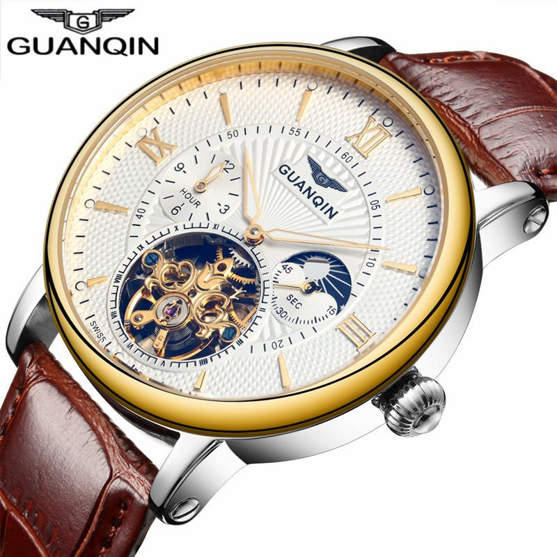 2018 Fashion Guanqin Mens Watches Top Brand Luxury Skeleton Watch Men Sport Leather Tourbillon Automatic Mechanical Wristwatch J190615