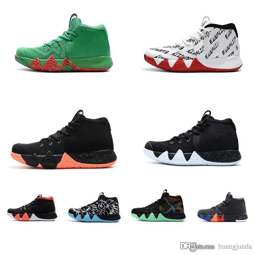 best website 0fd13 d1a25 2019 Cheap New Women Kyrie Irving Basketball Shoes BHM Black Out Bright  Crimson Green Boys Girls Youth Kids 4s IV Sneakers Boots Tennis For Sale  From ...