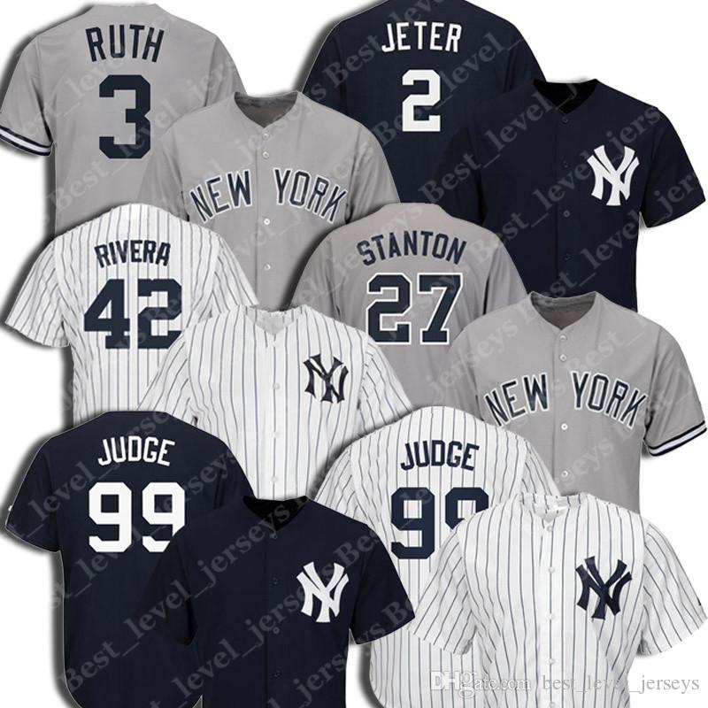 separation shoes 42a1c 211e3 Yankees Jersey Aaron Judge Jersey Derek Jeter jerseys Babe Ruth Don  Mattingly Gary Sanchez Cool Base Player Jersey