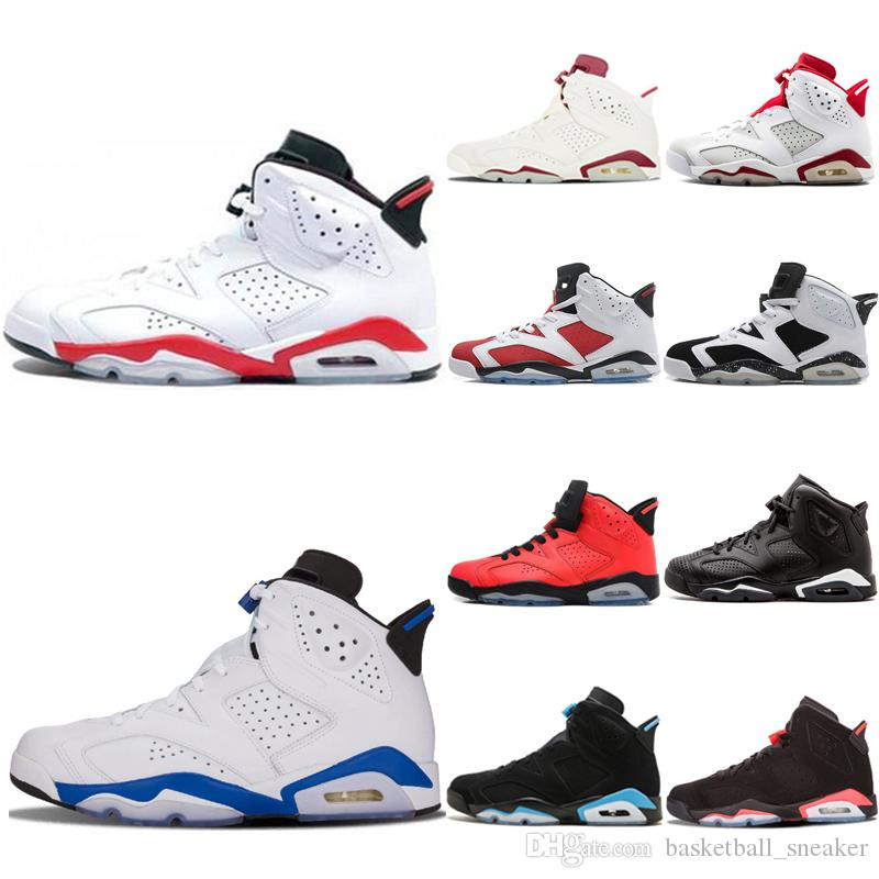 low priced 798f5 508a3 New White Infared Sport Blue 6 6s Mens Basketball Shoes hot sale Infrared  UNC Oreo Black Cat 6s Women men Alternate Olympic Sneakers