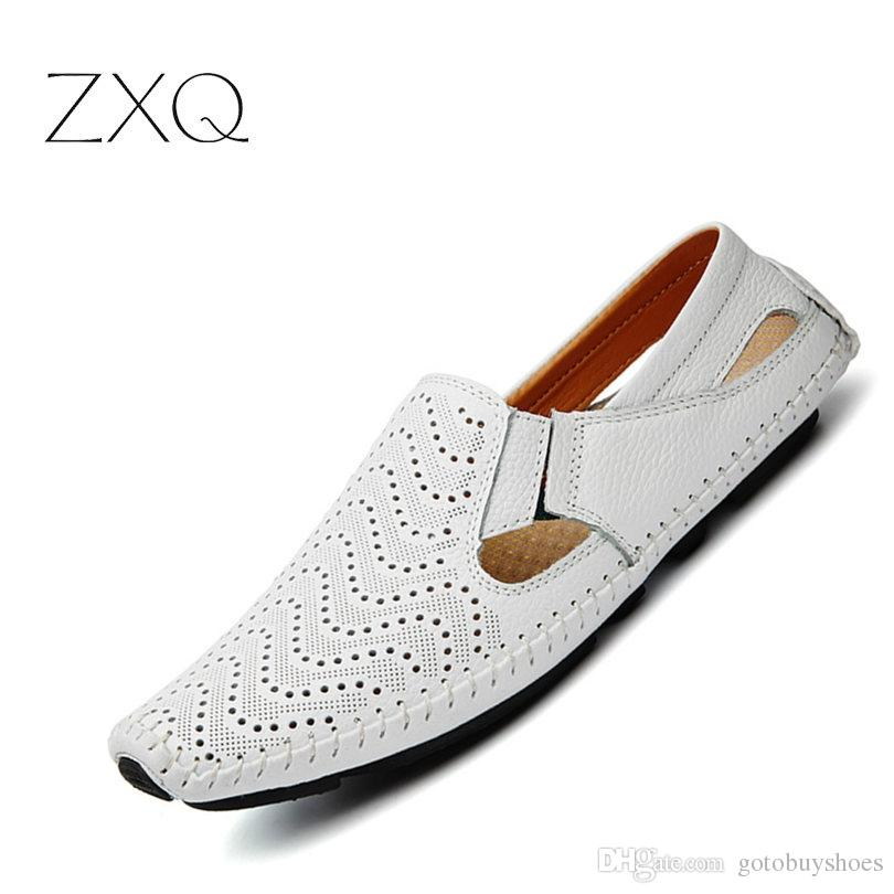 c0e572079d11 2018 Summer Leather Men Driving Loafers Breathable Men's Casual Shoes  Slip-On Loafers Men Flats Moccasins Shoes Plus Size 47 #195001