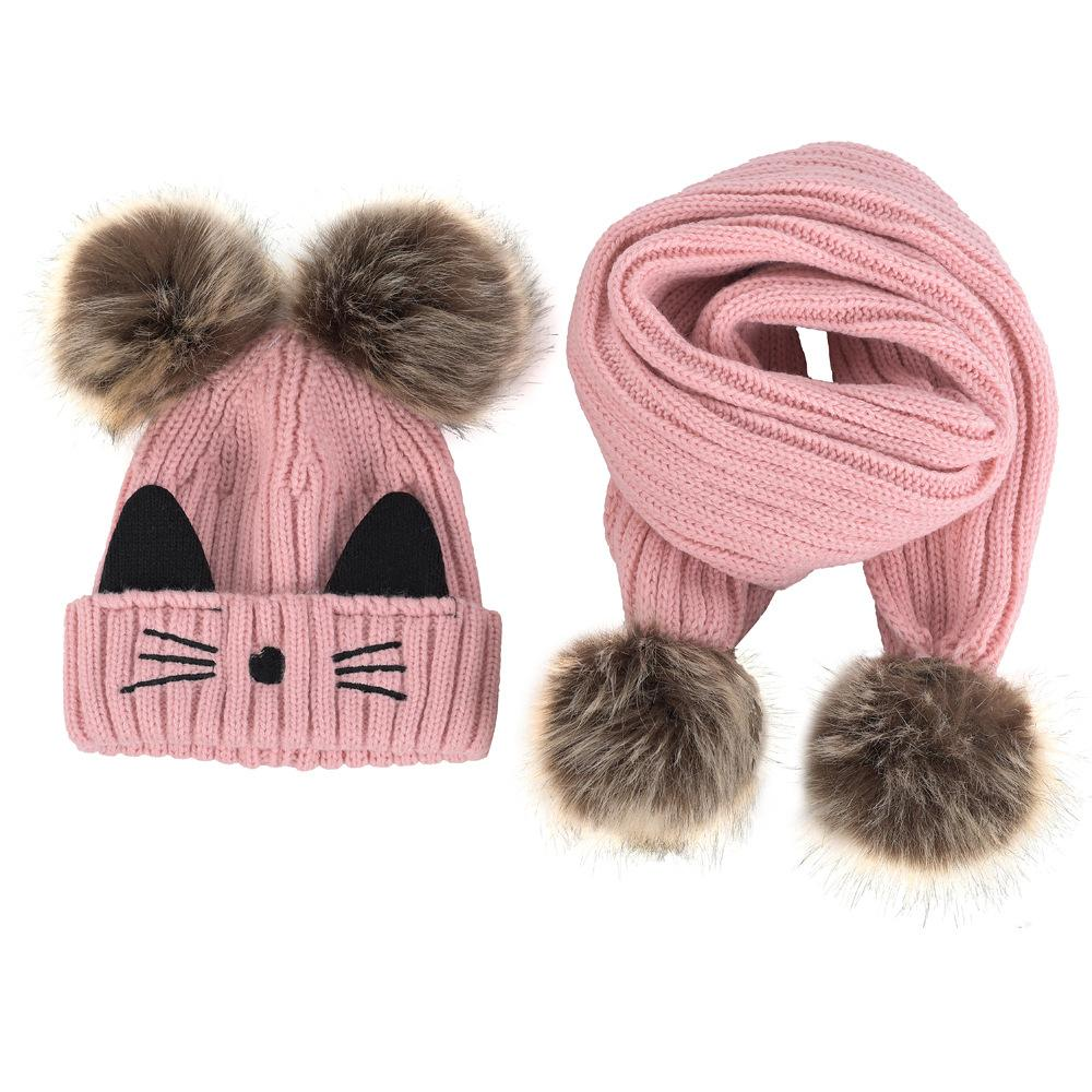 02661805617 2019 Winter New Women Fashion Cute Cat Ear Hat And Scarf Set Girls Fashion  Sweet Warm Hats Embroidered Knitted Woolen Caps Scarfves From Dujuanflower