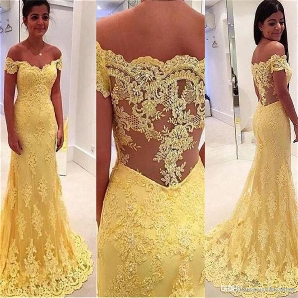 f95870c454 Compre Elegante Encaje Amarillo Fuera Del Hombro Vestidos De Baile Sirena  Tren De Barrido Apliques Vestidos Largos Vestido Largo A  149.75 Del  Dresstogo ...