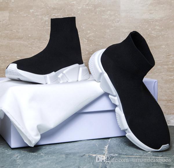 buy popular e50cd 766c5 Acheter Chaussettes De Designer De Luxe En Bonneterie Speed Trainer De  Chaussettes De Sport De Marque Sneaker Slip On Black White Oreo BB Baskets  De Mode ...