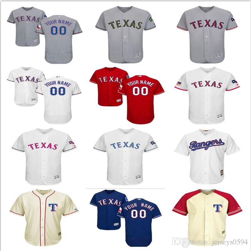 promo code c5186 167c2 2018 custom Men's Women Youth Majestic Texas Rangers Jersey Any Your name  and number Home Blue Grey White Kids Baseball Jerseys