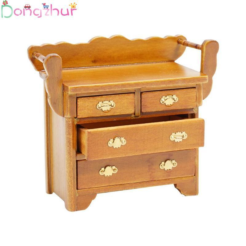 Dollhouse Miniature 1:12 Mini Walnut Color Drawer Cabinet Wood Doll House  Furniture Model Foyer Chest Drawers Accessories Toy Dollhouse For 18 Dolls  ...