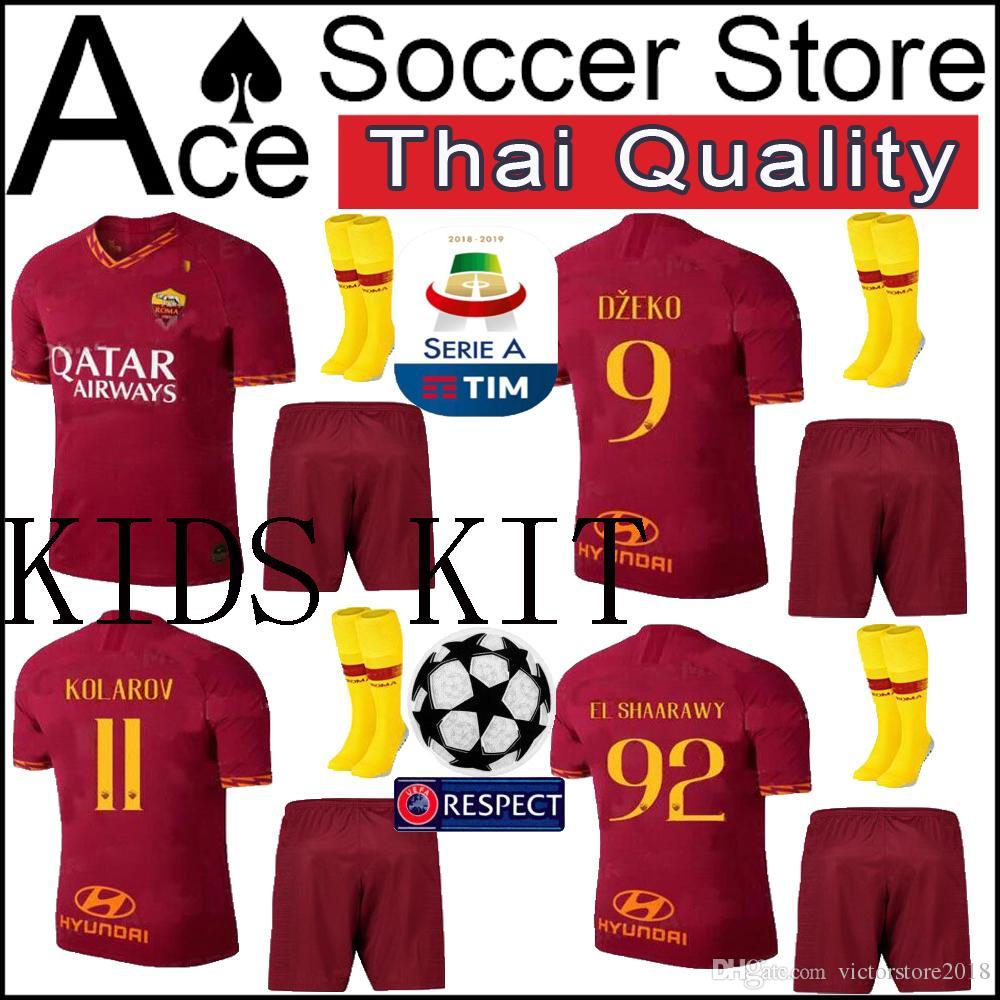 2f4e33aa2 2019 New Roma Jersey Soccer Kids Kit 19 20 Home Away EL SHAARAWY ...