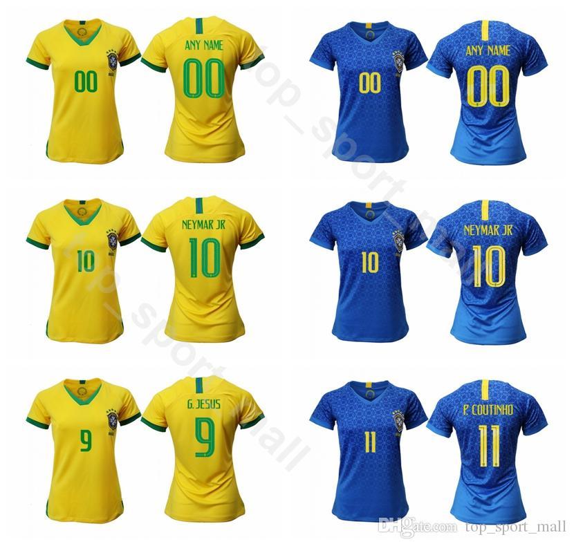size 40 92000 4e61a Women NEYMAR JR Jersey 2018 2019 Lady Brazil Soccer DANI ALVES PELE KAKA  OSCAR RONALDO DAVID LUIZ Woman Football Shirt Kits Uniform