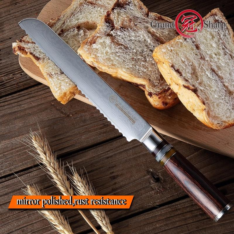 8'' Japanese Damascus Bread Knife vg10 Cutting Core 67-Layer Damascus Bread Knife Cake Slicing Bakery Tools Gift Box Grandsharp
