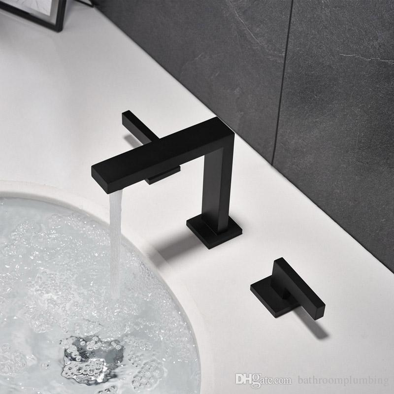 100% Solid Brass Double Handle Basin Faucet Widespread Bathroom Faucet Matte Black Or Chrome Choice Water Mixer Tap