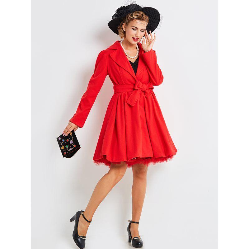 b628d64d29a8a Compre Mujeres Mezclas De Lana Abrigos Casual Elegante Rojo Vintage Oficina  Señora Botón De La Solapa Sólido Lace Up Mujer Moda Tops Abrigos Retro A   78.98 ...
