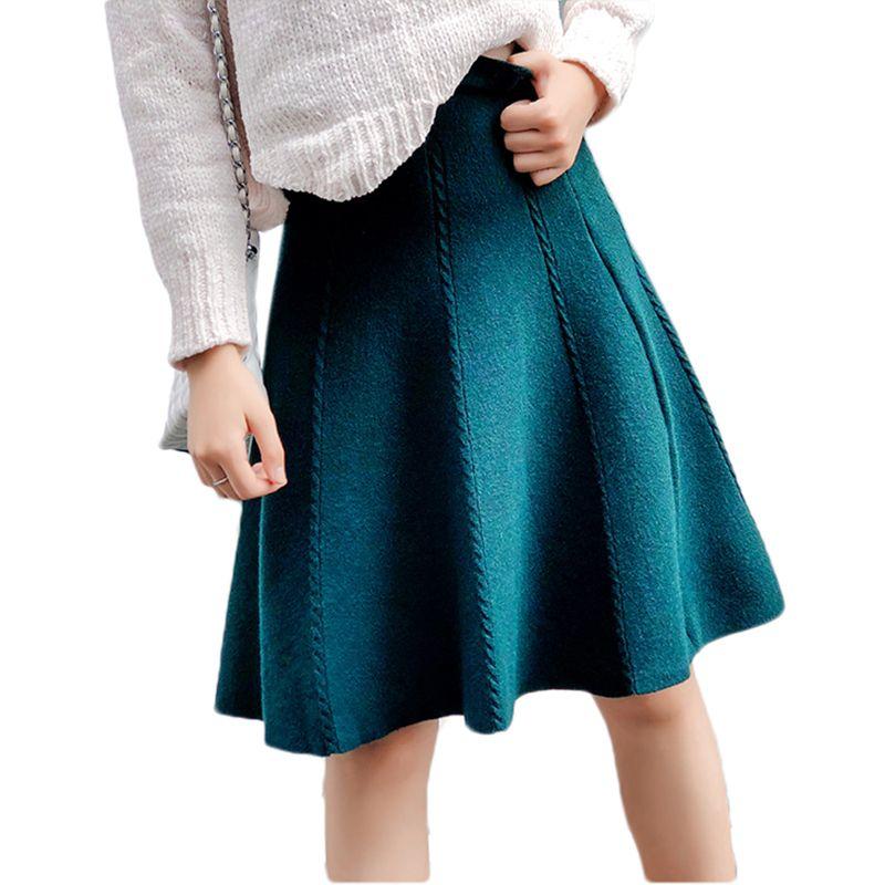 ea6e112d3 2018 Otoño Invierno Falda de punto Mujer Midi Cintura alta Una línea Faldas  de punto de una pieza Seamles plisado elástico grueso Faldas Y190428