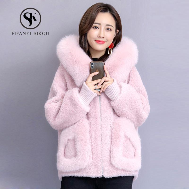 0f90ec5def0 Faux Fox Fur Collar Hooded Cashmere Coat Womens Winter Short Wool ...
