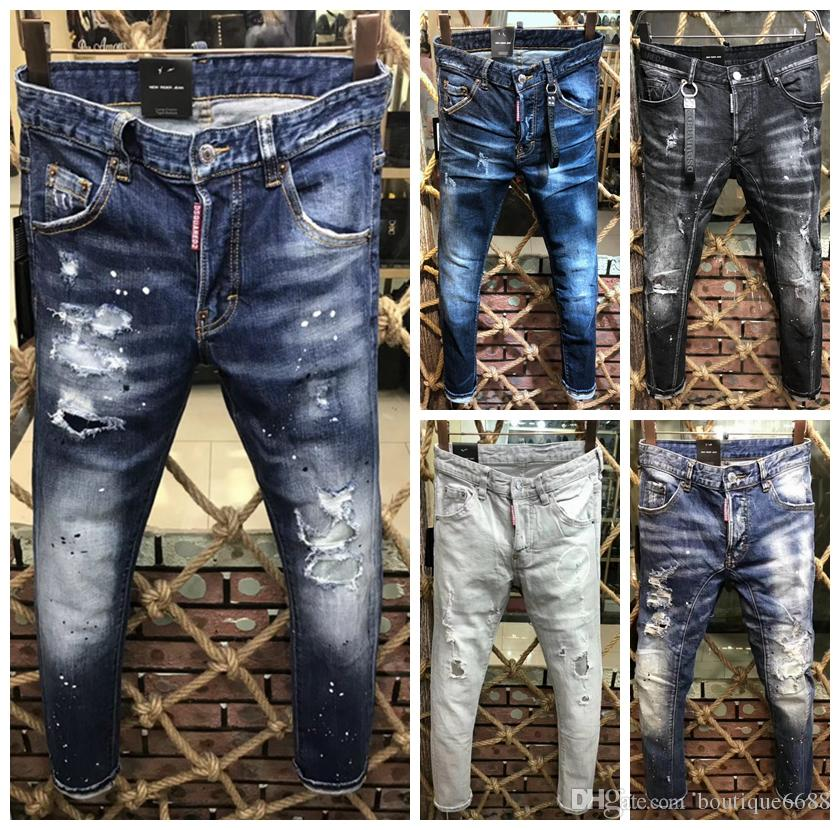 official photos 86a0a 0a4c4 I jeans degli uomini di marca italiana 2018 nuovi jeans classici del  motociclista degli uomini di alta qualità di modo hanno strappato i  pantaloni di ...