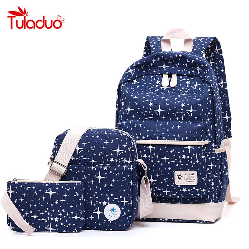 2019 FashionNew Fashion Women Canvas Backpack School Bags For Girl  Teenagers Casual Student Travel Bag Rucksack Cute Stars Printing Children  Small Backpack ... 335a249bc798a
