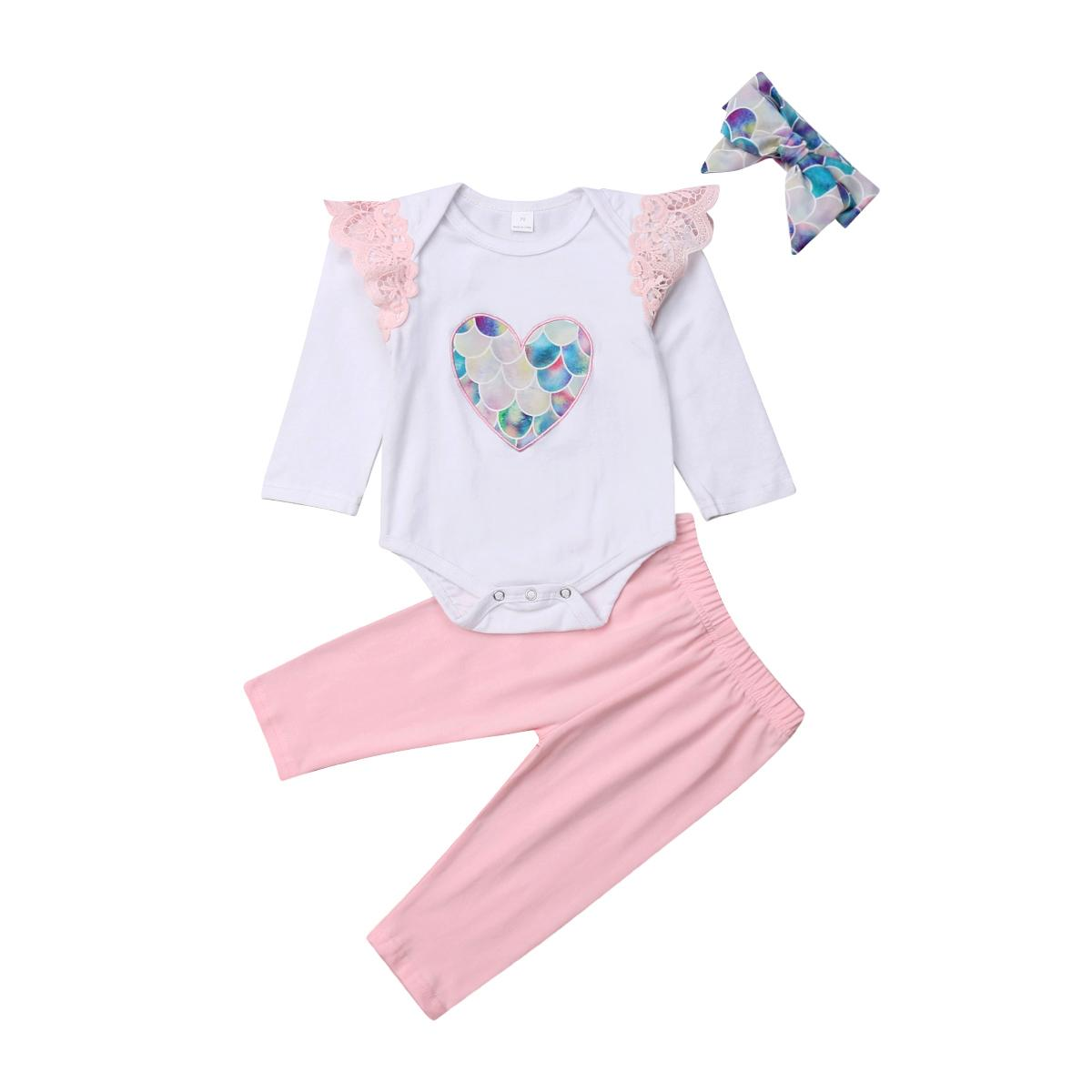 ed2bcff6e1db 2019 Cute Newborn Baby Girls Fish Scale Lace Romper Long Sleeve Tops Long  Pants Headband Outfits Clothes Set From Ycqz3