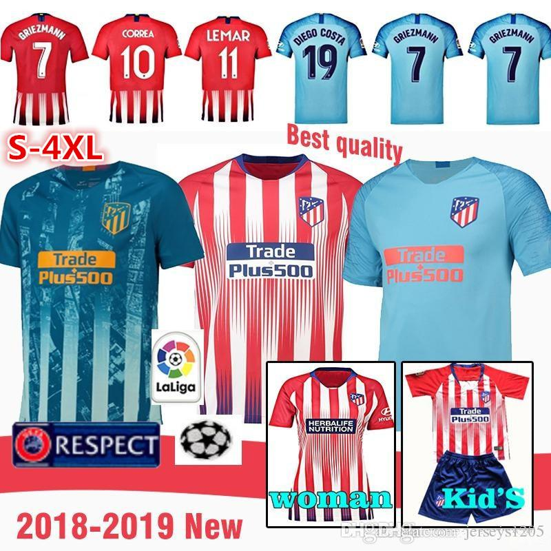 d1c1642227f 2019 Atletico Madrid Tshirt Shirt 2018 19 Griezmann Soccer Jersey Home  Football Shirts DIEGO COSTA KOKE LEMAR Kids Kits Camiseta Maillot Uniforms  From ...