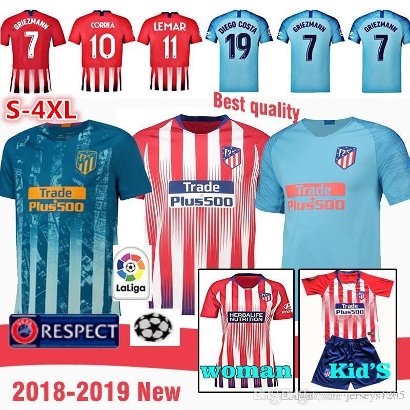 4dd8ad3f7421f Camiseta De Camiseta Del Atlético De Madrid 2018 19 Camiseta De Fútbol De  Griezmann Jersey De Fútbol En Casa DIEGO COSTA KOKE LEMAR Kits Para Niños  Camiseta ...