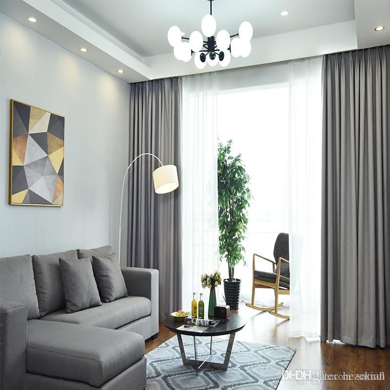 Vorhang Verdunkelungsfenster Schlafzimmer Wohnzimmer Balkon Sonnencreme  einfarbig Leinen nordischen Vorhang einfach und modern