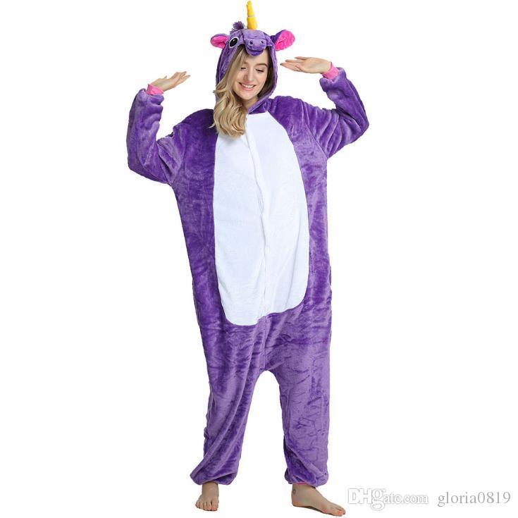 476f2054cc Compre Púrpura Unicornio De Las Mujeres Pijamas Mangas Largas Vellón Con  Capucha Adultos Ropa Para El Hogar Trajes De La Mascota Ropa De Dormir Ropa  De ...