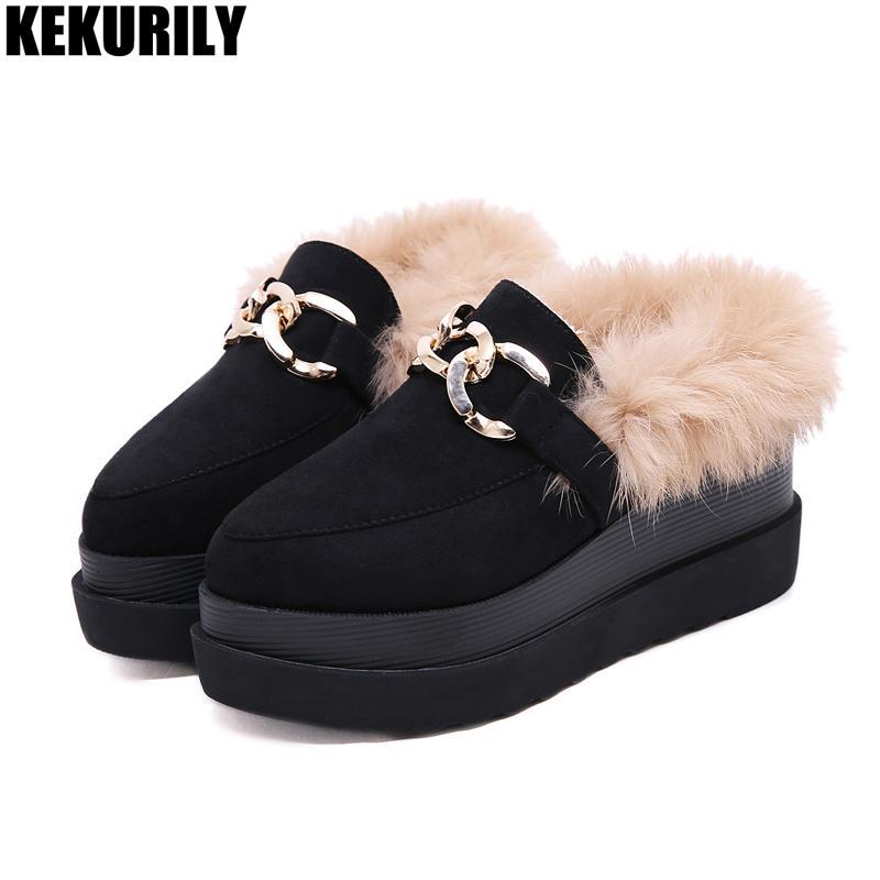 2ccb2cdb5deab Wedge Oxfords Platform Shoes Women Winter Rabbit Fur Metal ...