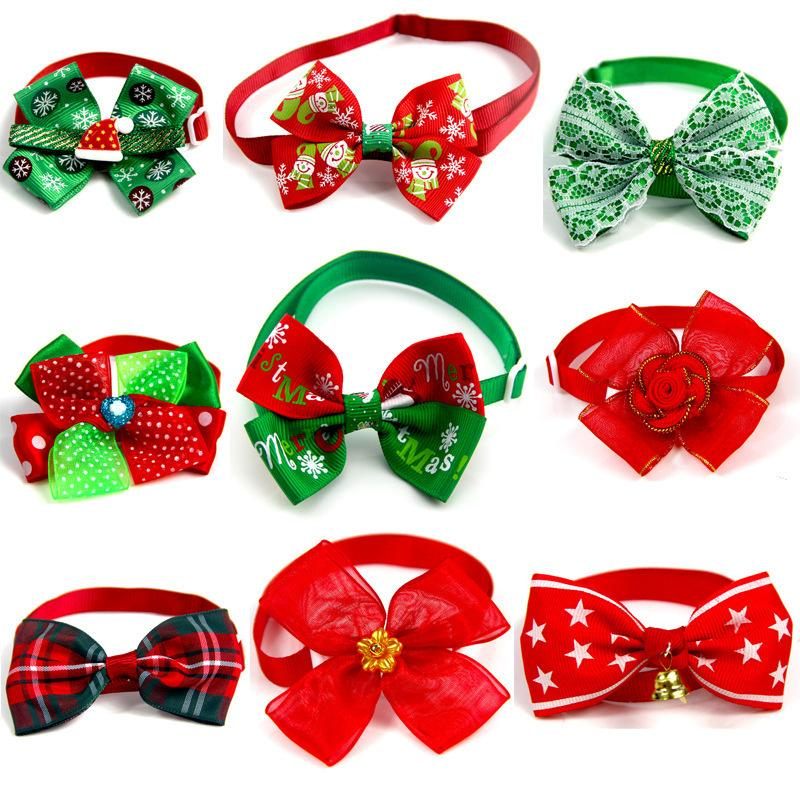 Christmas Pets Tie Bow Red Green Colors Cat Harness Led Kitty Dogs Breakaway Collar Pet Decor. Supplies Wholesale Retail 7