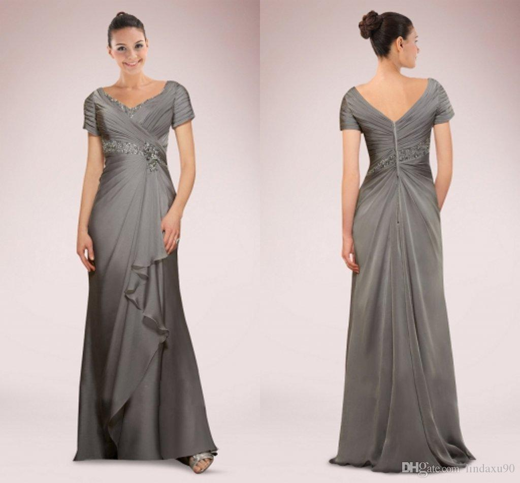 Evening Gowns For Wedding Guests: Silver Grey Elegant Mother Of The Bride Dresses Plus Size