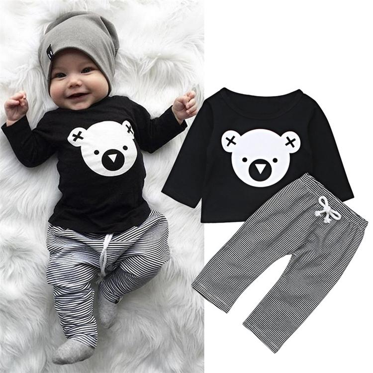Kids Clothing Cartoon Koala T-Shirt Tops + Striped Pants Baby Boy Clothes Newborn Baby Boy Clothes Long Sleeve Suits Clothing Sets FJ150