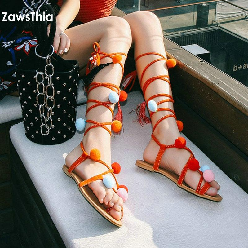 0a0534105 ZawsThia 2019 Summer Ethic Bohemian Flip Flops Ankle Cross Strap Bandage Woman  Flat Gladiators Sandals With Pompoms   Tassels Tan Wedges Fringe Sandals  From ...