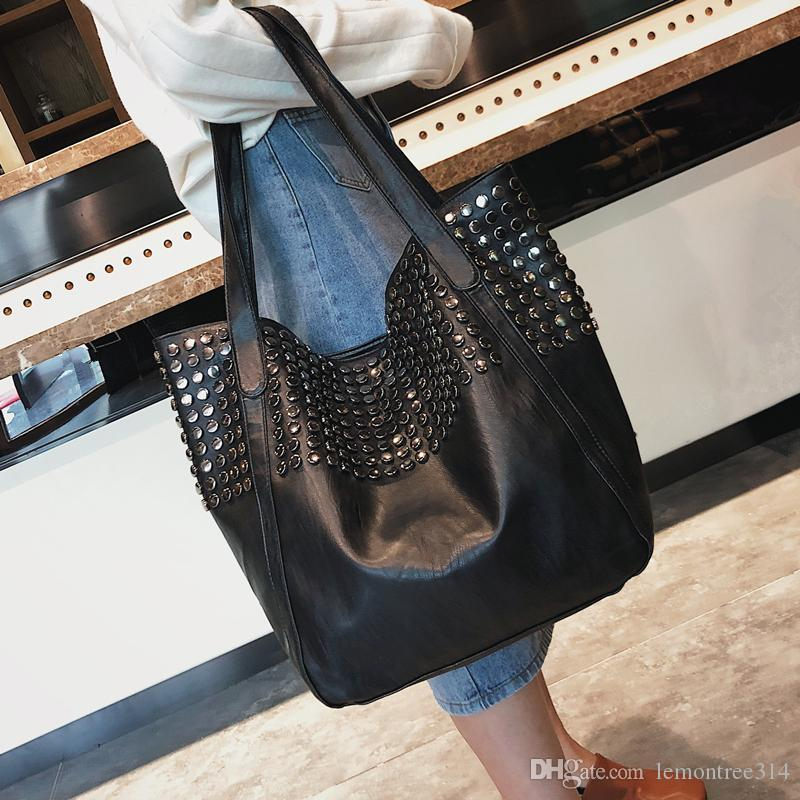 Women Rivet Punk Should Bags Black Fashion Handbag High Capacity ... 92cae4ddb0283
