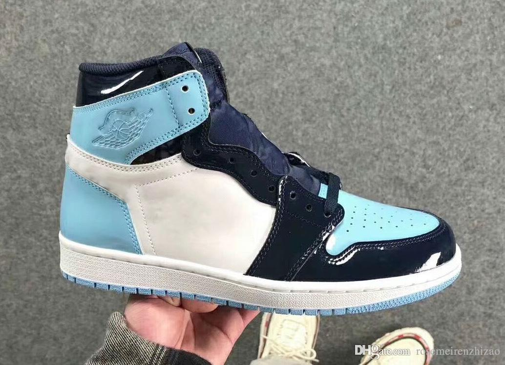 c7b5a70b8edaa2 2019 Newest Air Authentic 1 High OG UNC Patent Basketball Shoes Men Obsidian  Blue Chill White 1S Sports Boots Retro Sneakers CD0461 401 US 5.5 12 From  ...